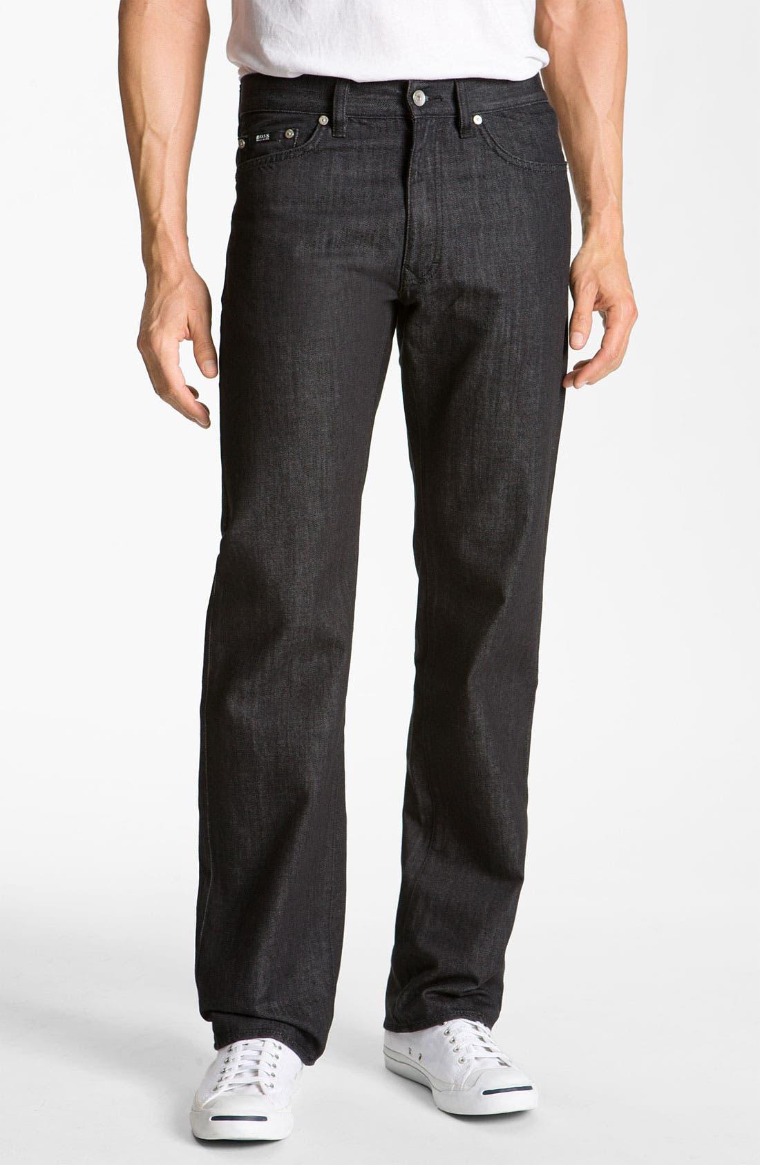 Main Image - BOSS Black 'Texas' Bootcut Jeans (Black)