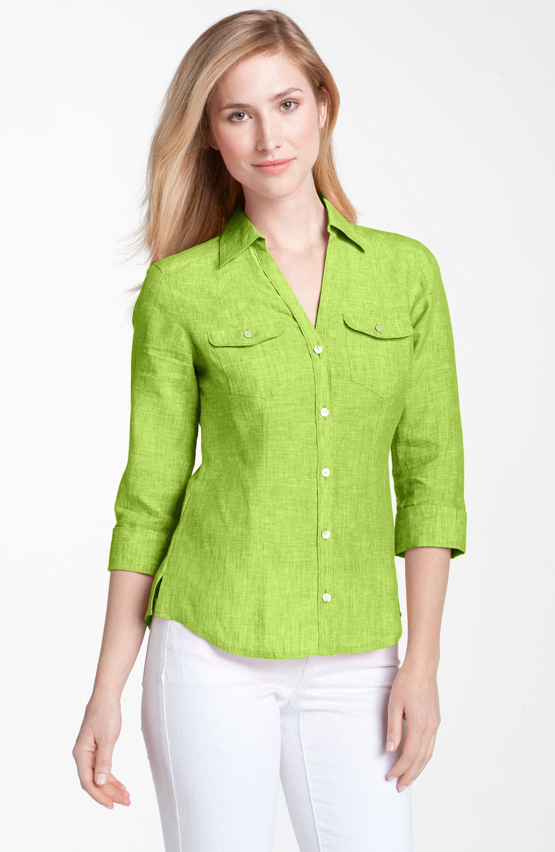 Main Image - Foxcroft Chambray Linen Shirt