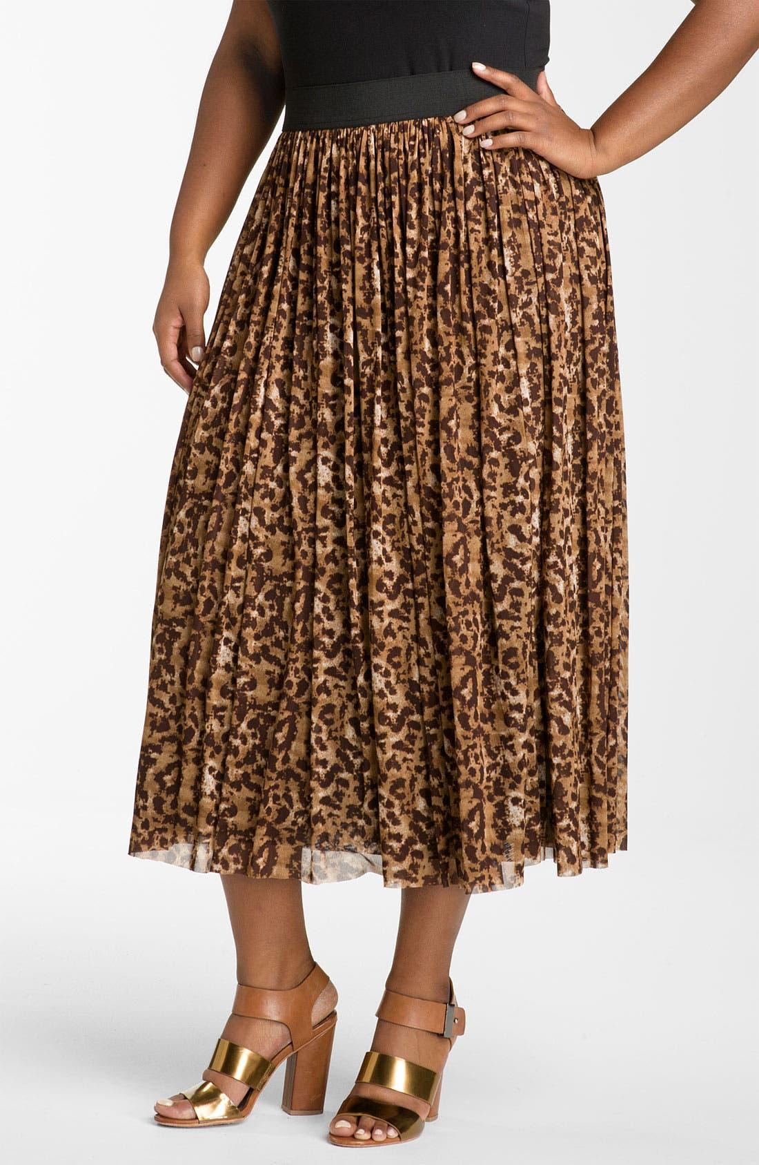 Alternate Image 1 Selected - Vince Camuto 'Textured Spots' Animal Print Skirt (Plus)