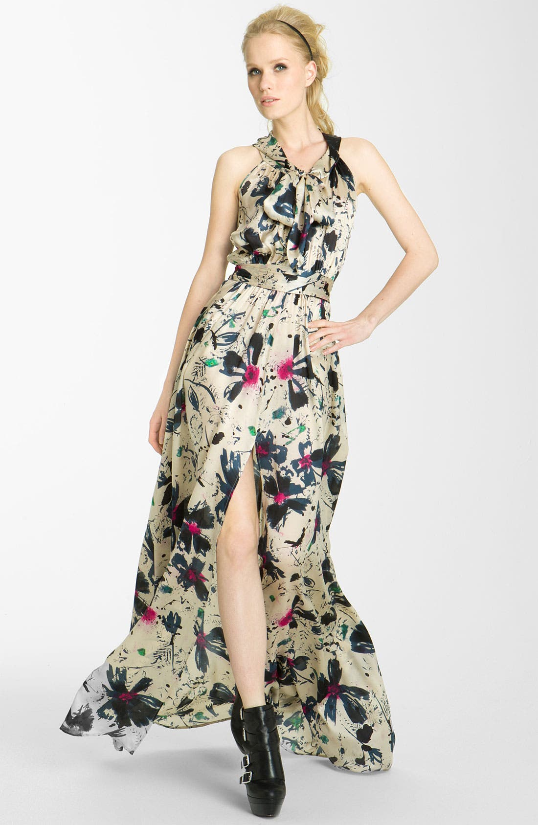 Alternate Image 1 Selected - Rachel Zoe 'Natasha' Floral Print Silk Gown