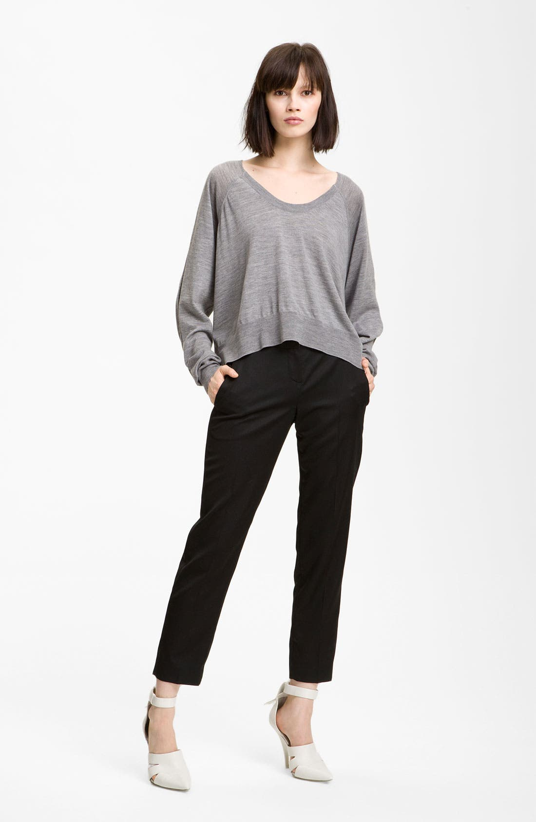 Alternate Image 1 Selected - Alexander Wang Crop Merino Wool Top