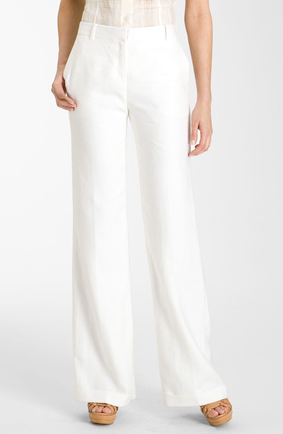Alternate Image 1 Selected - Lafayette 148 New York 'Lavish' Cuff Linen Pants