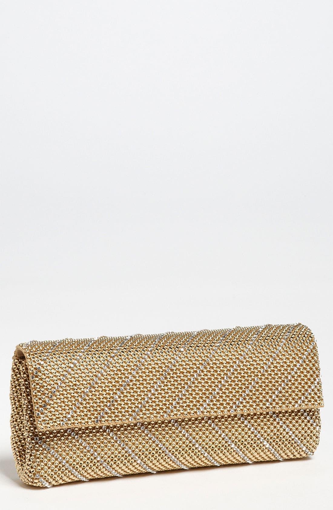 'Crystal Chevron' Flap Clutch,                         Main,                         color, Gold