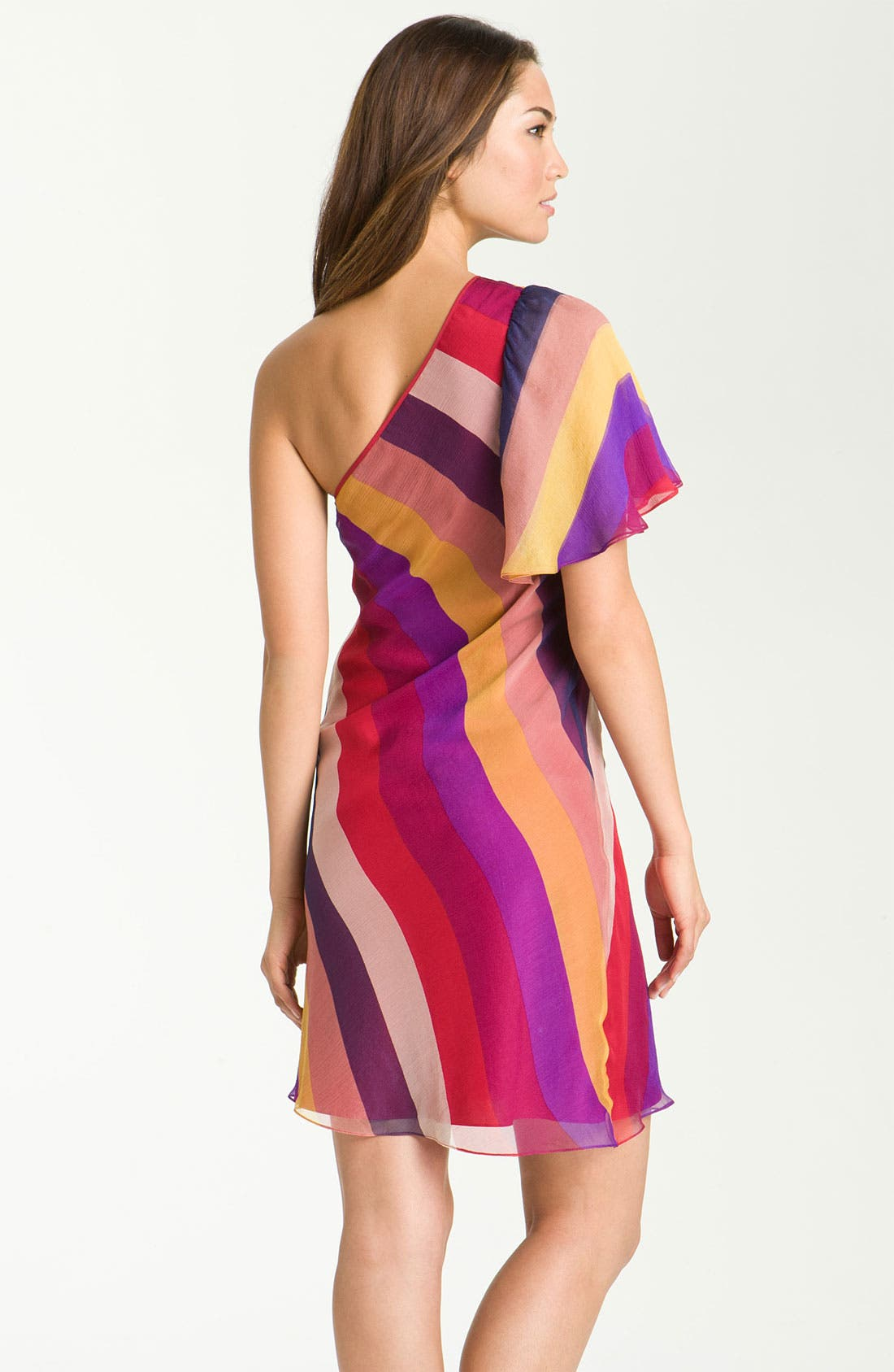 Alternate Image 2  - Catherine Malandrino One Shoulder Stripe Silk Dress