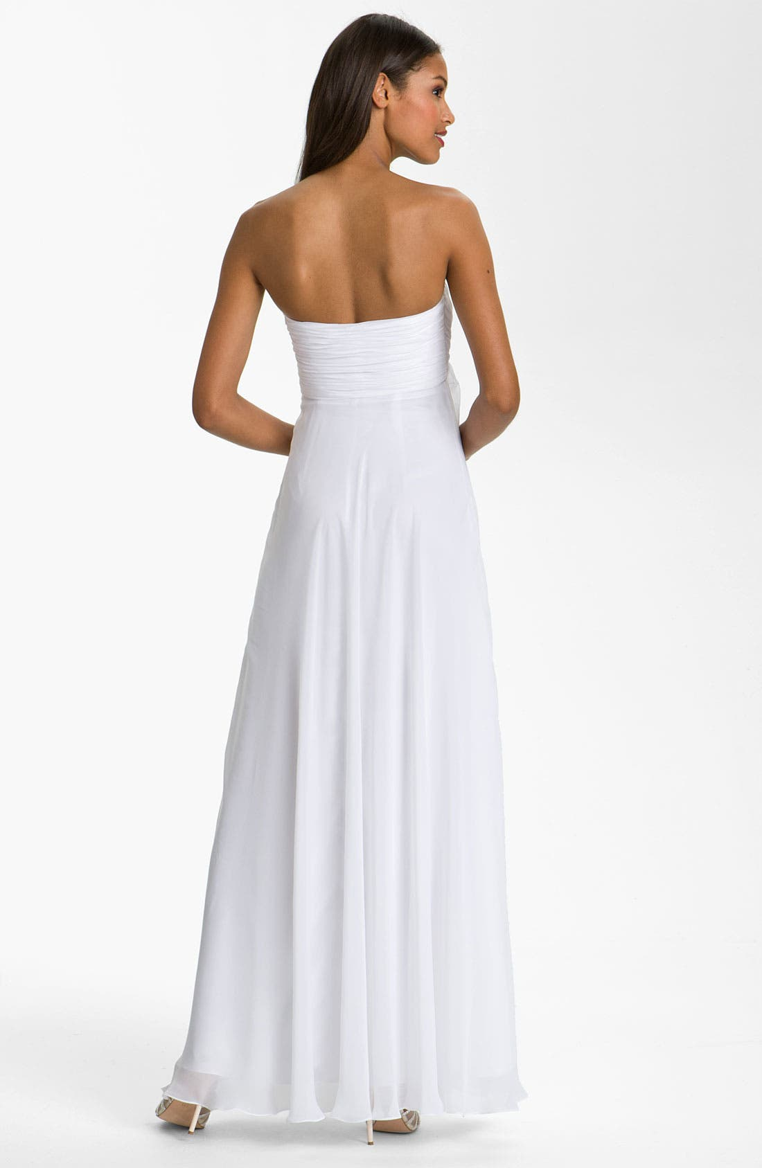 Alternate Image 2  - Dalia MacPhee Strapless Ruffle Front Chiffon Gown