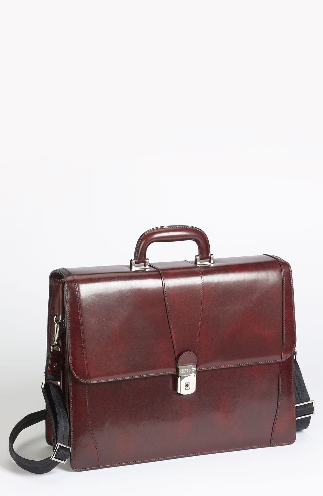 Double Gusset Briefcase,                             Main thumbnail 1, color,                             Dark Brown