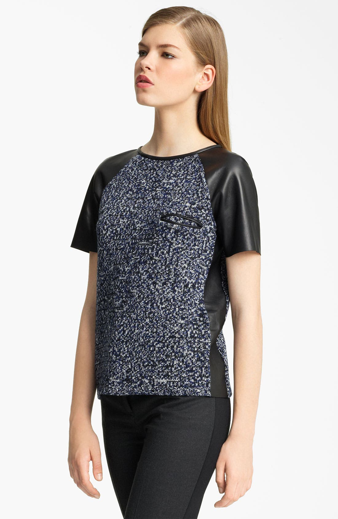 Main Image - Jil Sander Leather Sleeve Marled Knit Top