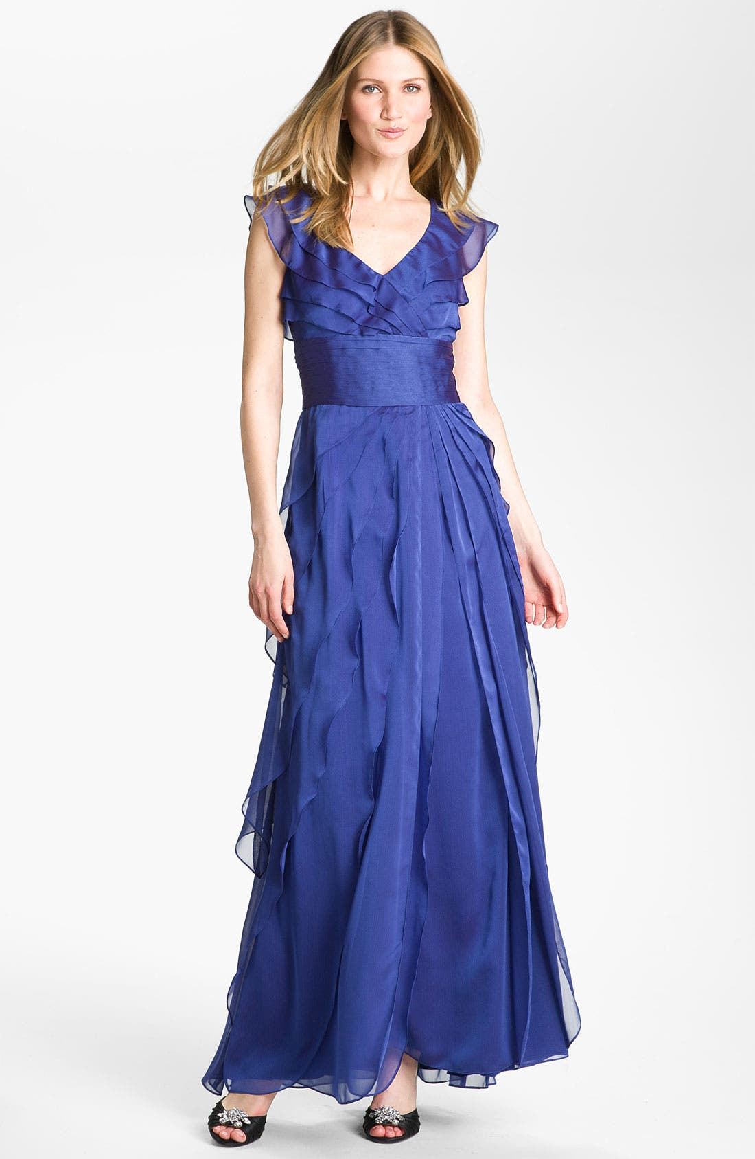 Alternate Image 1 Selected - Adrianna Papell Tiered Chiffon Gown (Petite)