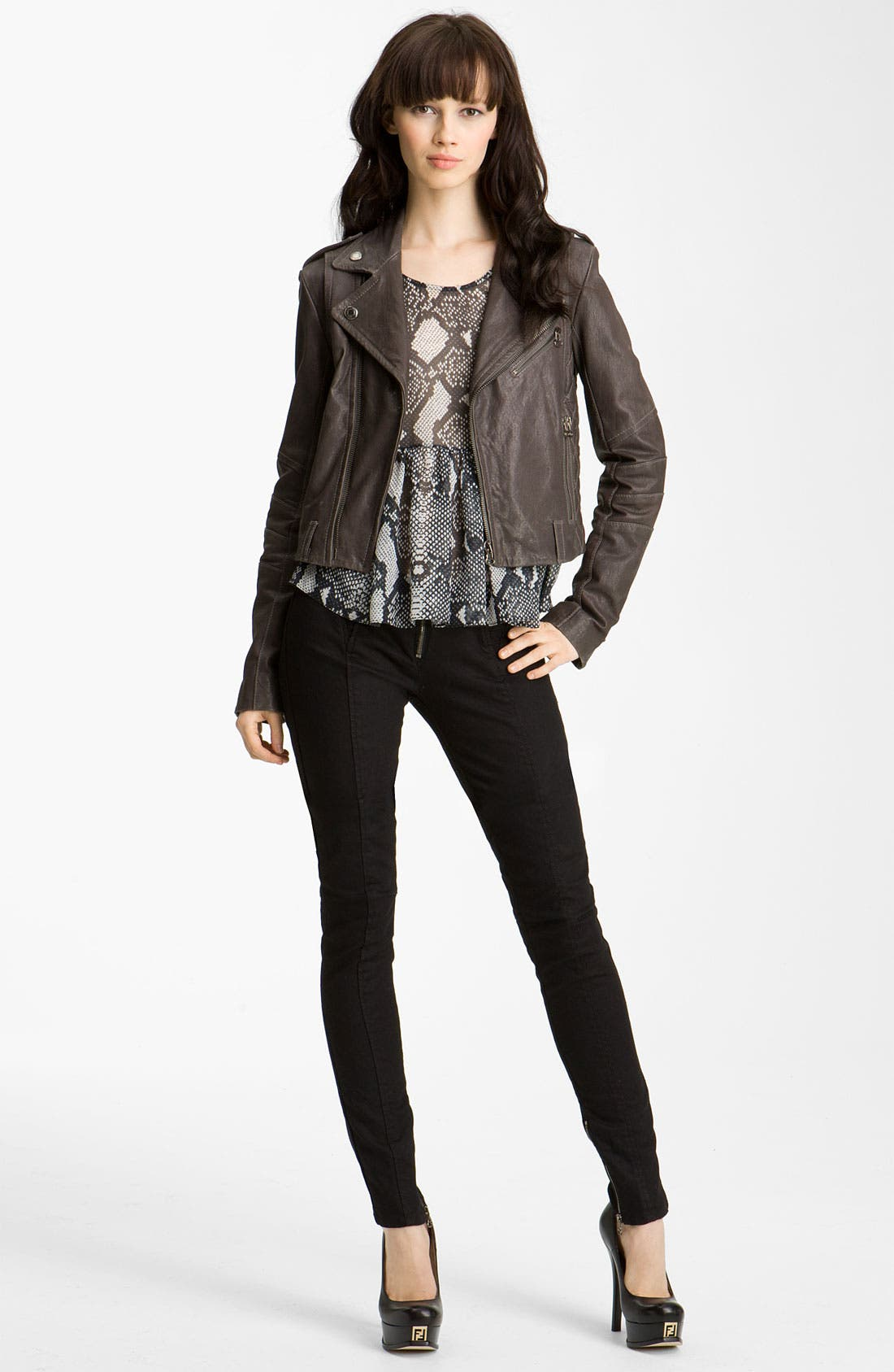 Main Image - Pierre Balmain Quilted Leather Moto Jacket