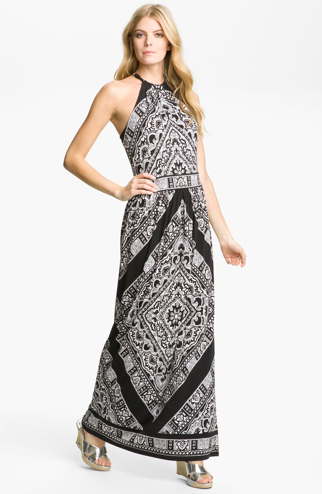 Alternate Image 1 Selected - MICHAEL Michael Kors Leather Halter Maxi Dress