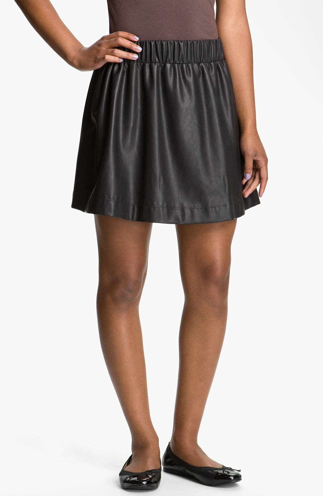 Main Image - Lily White Faux Leather Skirt (Juniors)