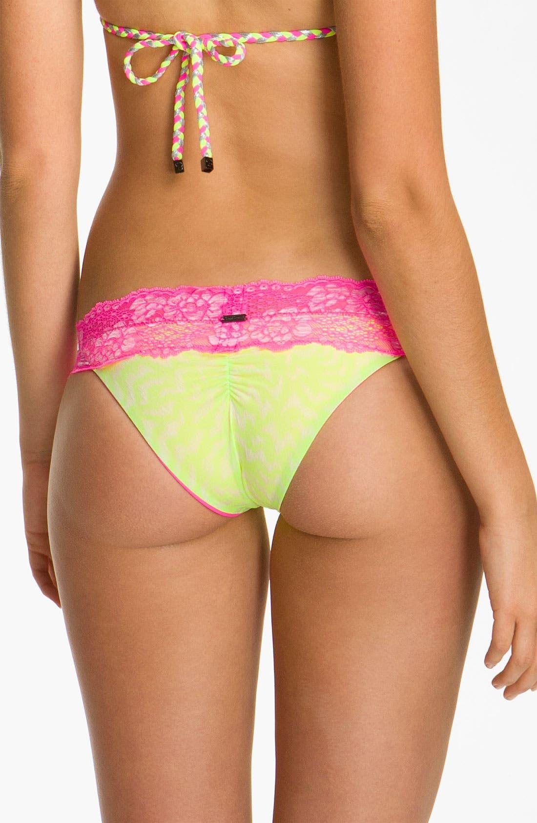 Alternate Image 2  - Beach Bunny 'Neon Dream' Lace Trim Bikini Bottoms