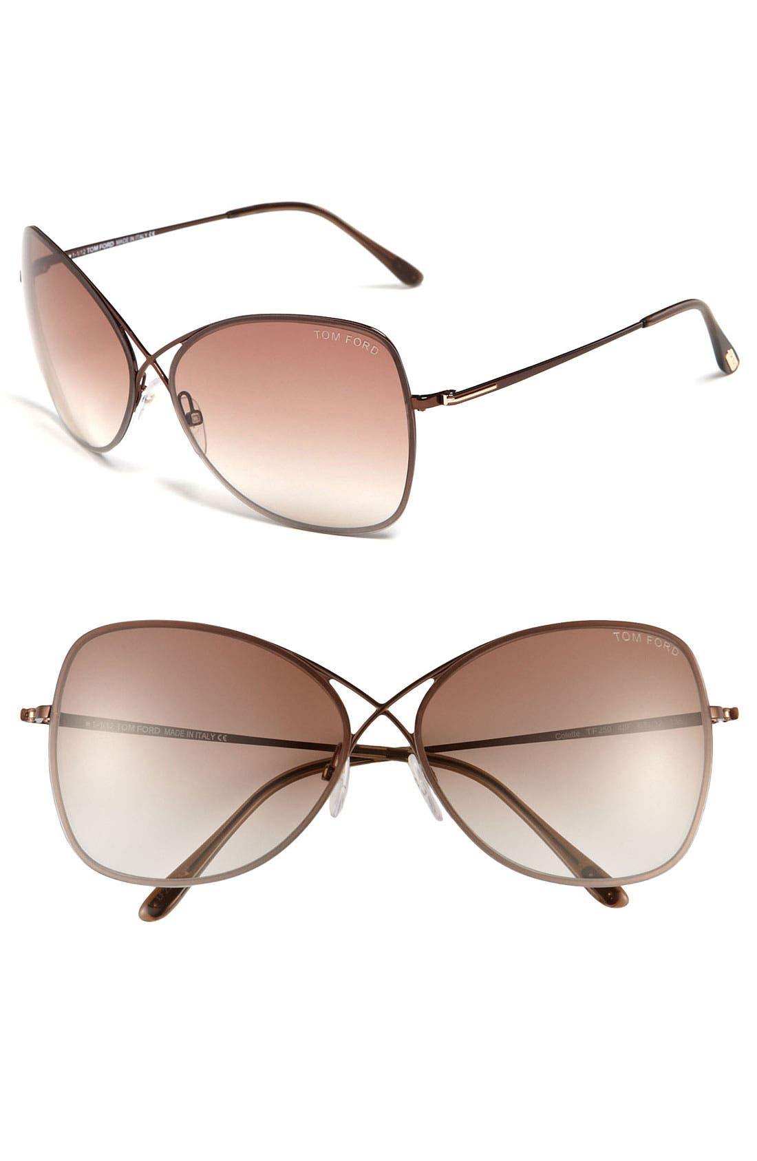 'Colette' 63mm Oversized Sunglasses,                             Main thumbnail 1, color,                             Shiny Brown/ Brown Gradient