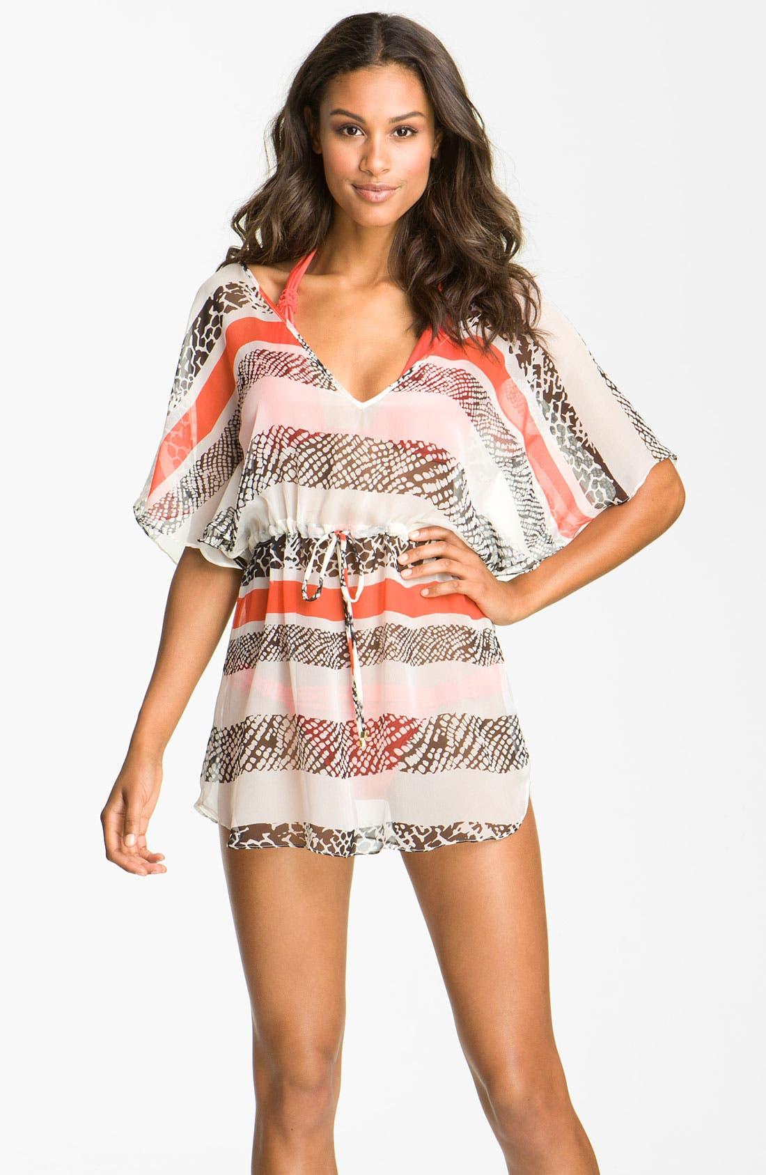 Main Image - ViX Swimwear 'Leblon Lina' Silk Caftan Cover-Up