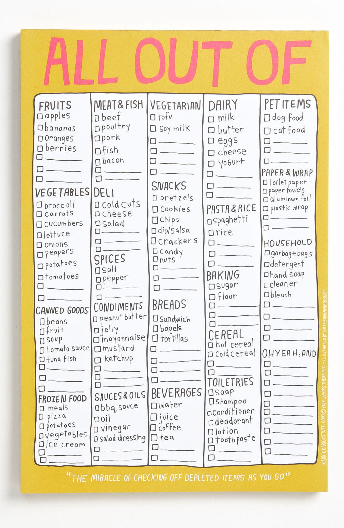Alternate Image 1 Selected - Knock Knock 'All Out Of' Grocery List Notepad