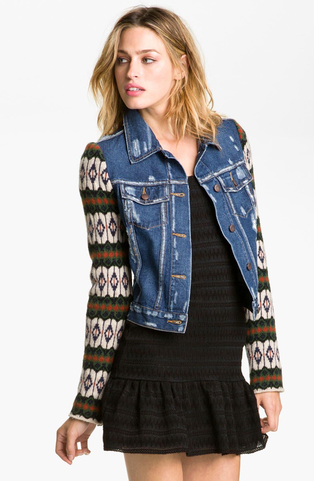 Main Image - Free People 'Cypress' Sweater Sleeve Denim Jacket