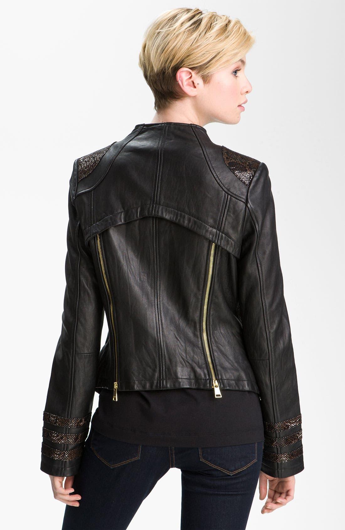 Alternate Image 2  - bebe Snakeskin Embossed Trim Leather Jacket