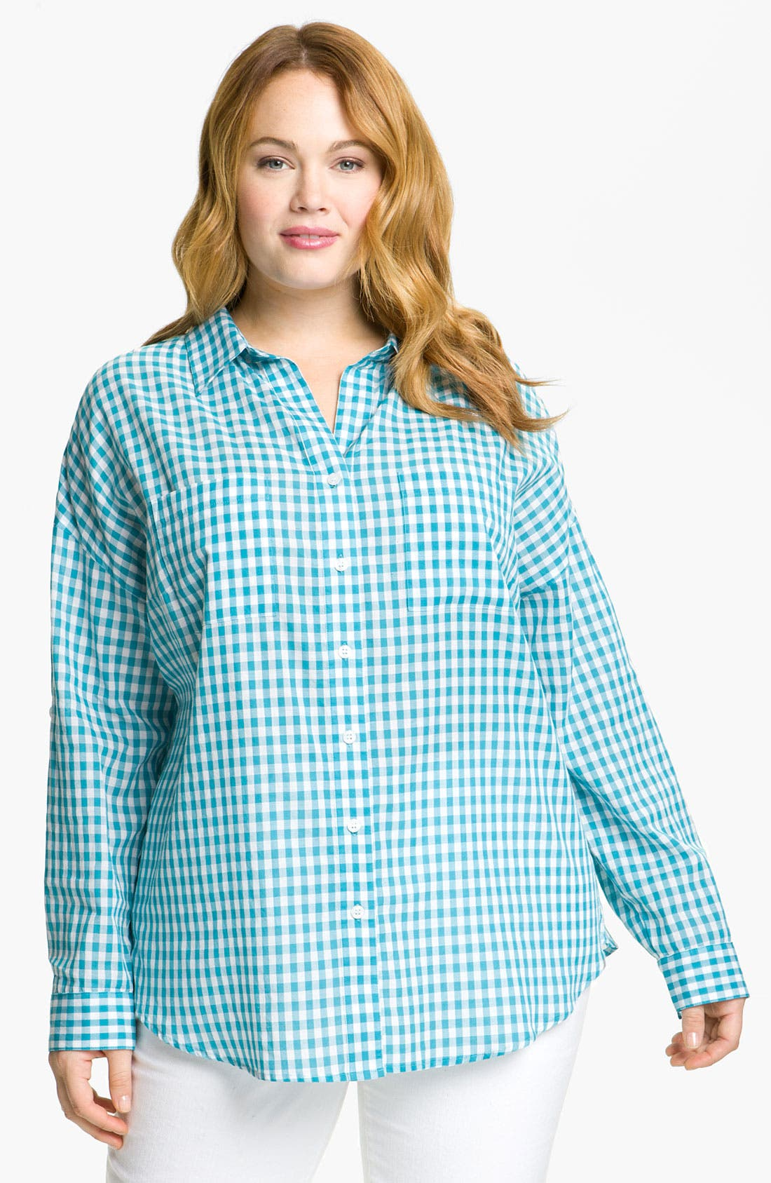 Alternate Image 1 Selected - Sandra Ingrish Gingham Check Shirt (Plus)
