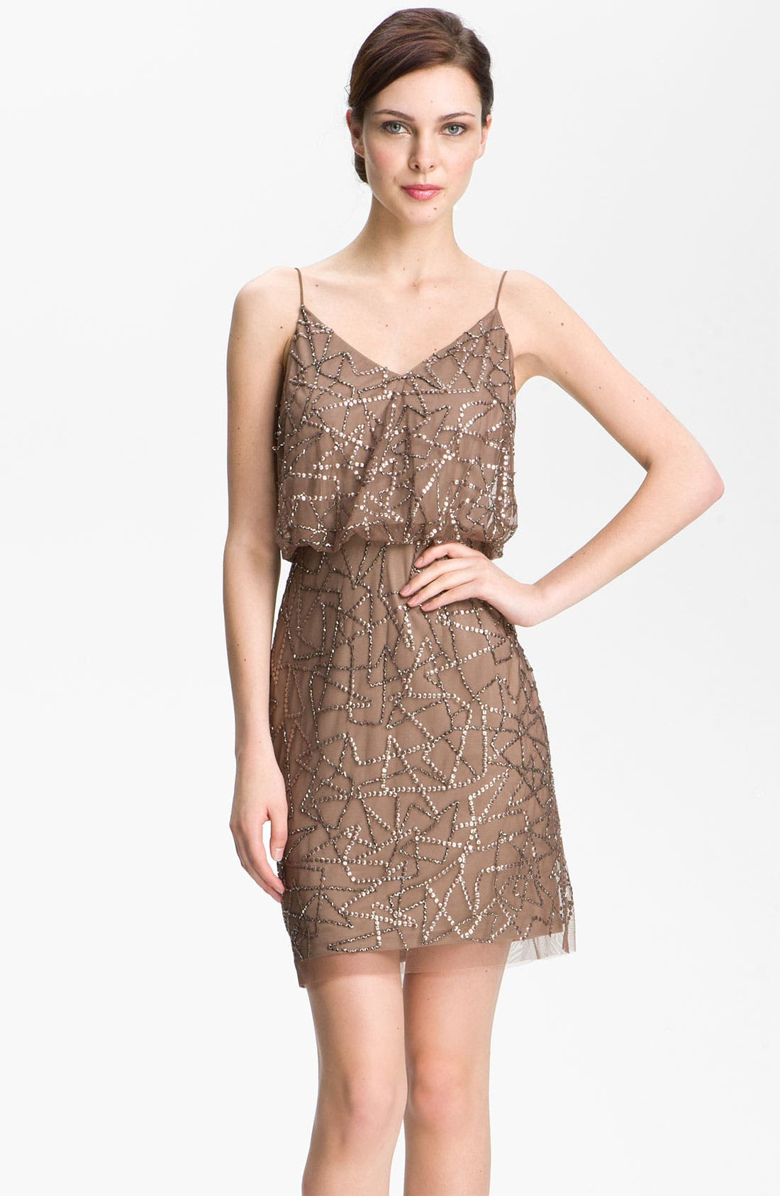 Main Image - Adrianna Papell Spaghetti Strap Sequin Mesh Dress