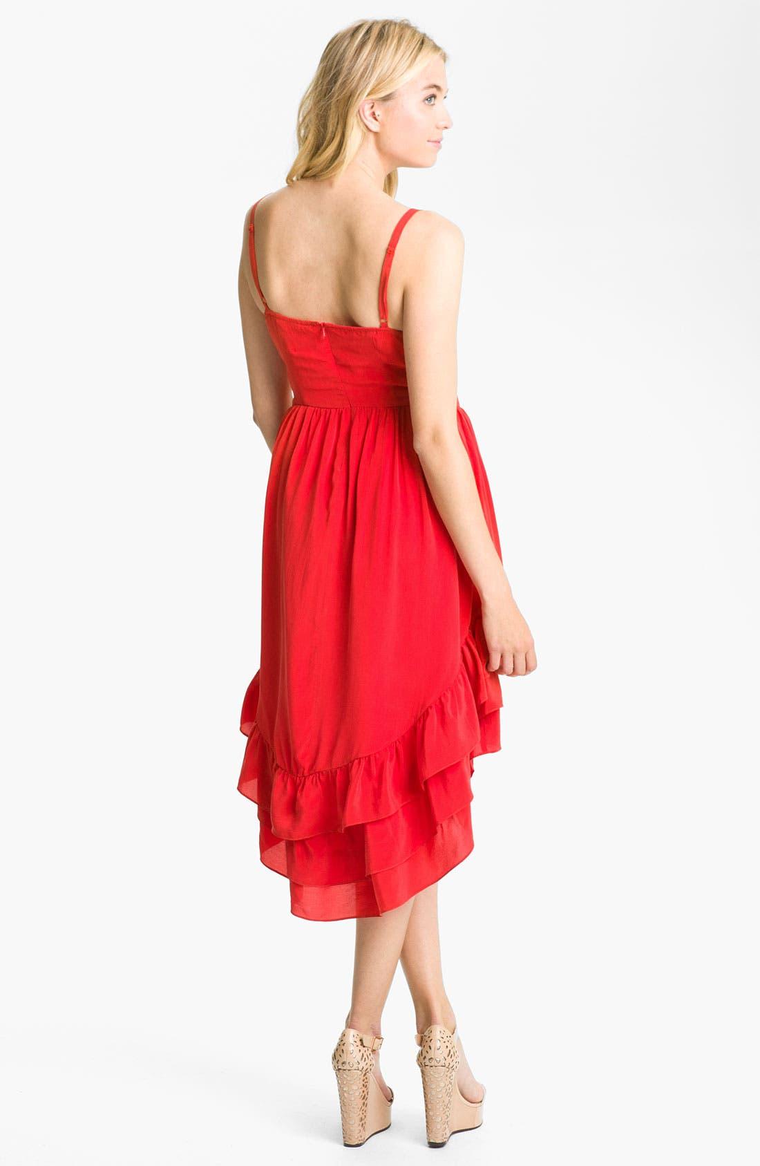 Alternate Image 2  - Line & Dot Tiered Ruffle Silk Dress