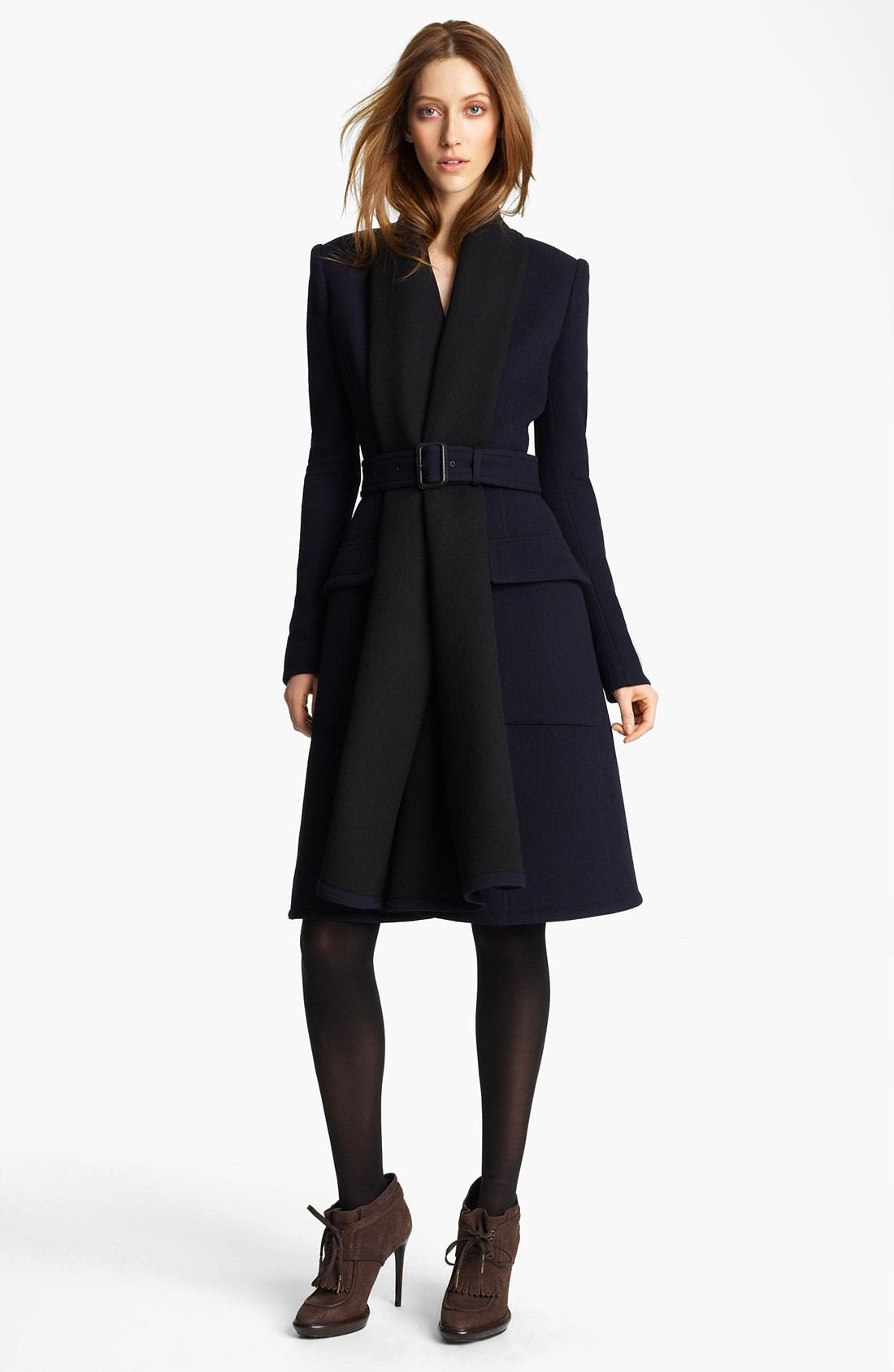 Main Image - Burberry Prorsum Belted Drape Front Coat