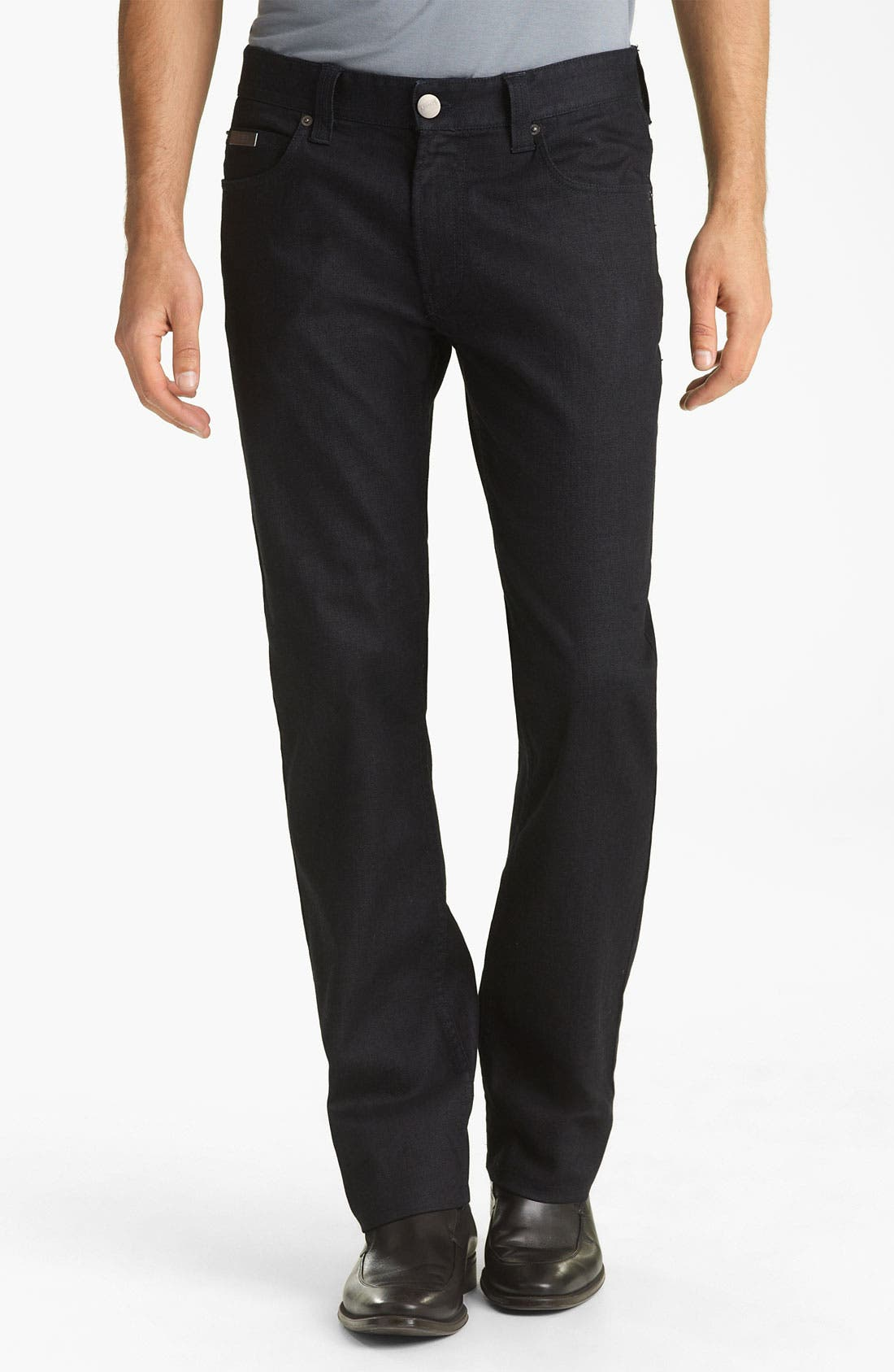 Alternate Image 1 Selected - Armani Collezioni Slim Straight Leg Jeans (Indigo Dark Rinse)