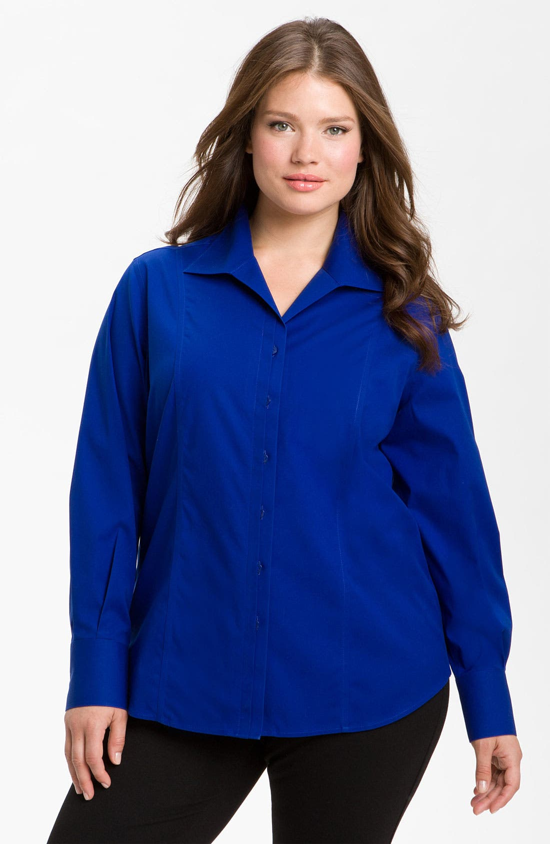 Alternate Image 1 Selected - Foxcroft 'Free Fit' Seamed Shirt (Plus)