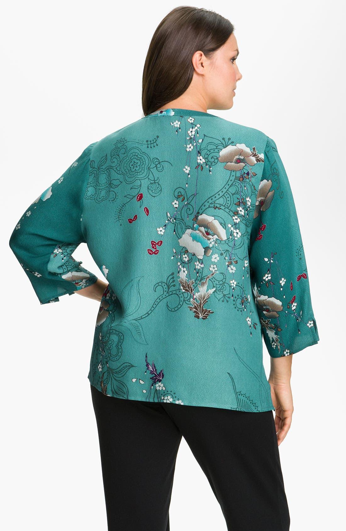 Alternate Image 2  - Citron Print Silk Jacket (Plus)