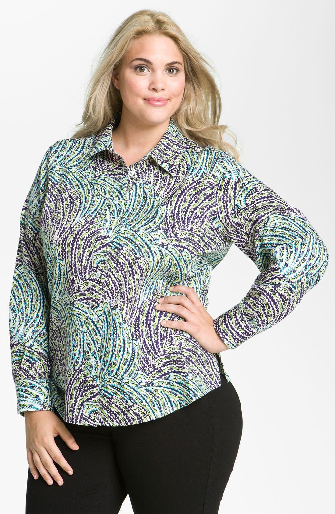 Main Image - Foxcroft 'Garden' Long Sleeve Shaped Shirt (Plus)