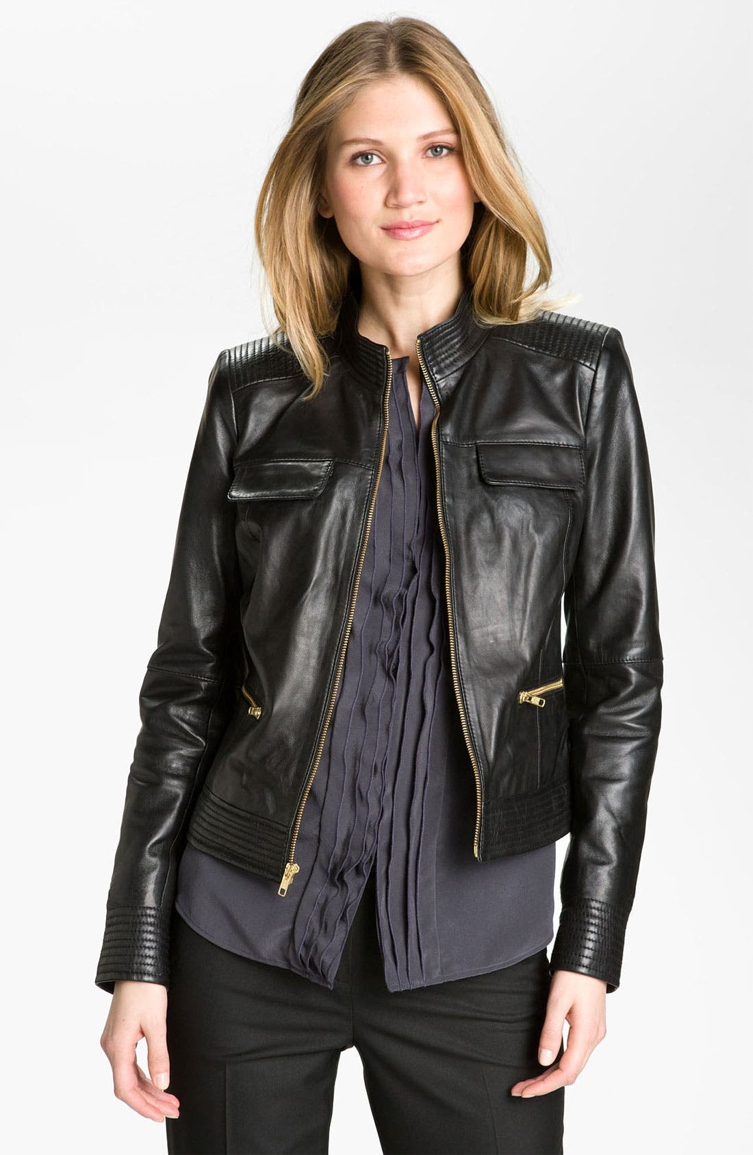 'Moss' Zip Detail Leather Jacket,                             Main thumbnail 1, color,                             Black