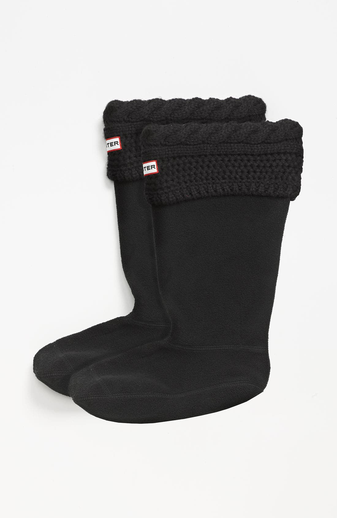 'Moss Cable' Tall Cuff Welly Socks,                             Main thumbnail 1, color,                             Black