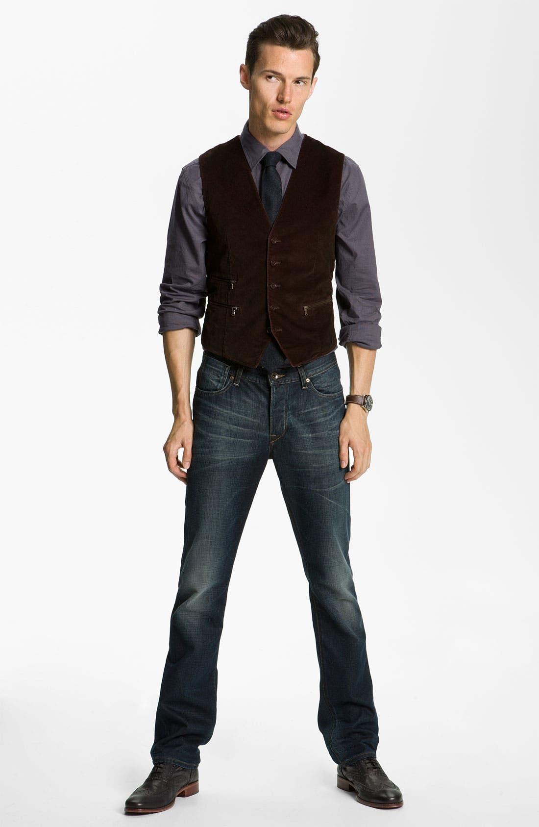 Alternate Image 5  - John Varvatos 'Bowery' Slim Straight Leg Jeans (Dark Indigo)