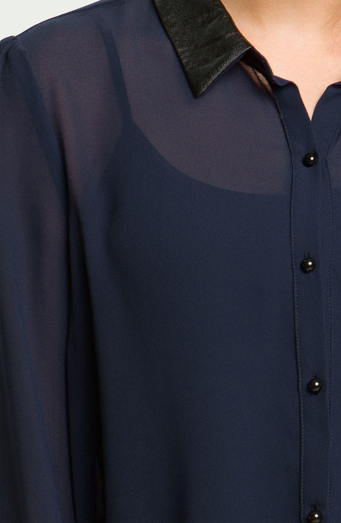 Alternate Image 3  - Chloe K Faux Leather Trim Shirt (Juniors)