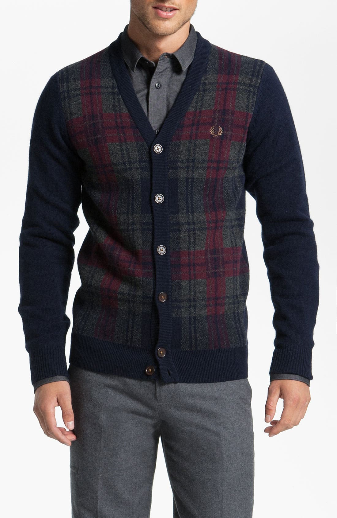 Alternate Image 1 Selected - Fred Perry Tartan Lambswool Cardigan