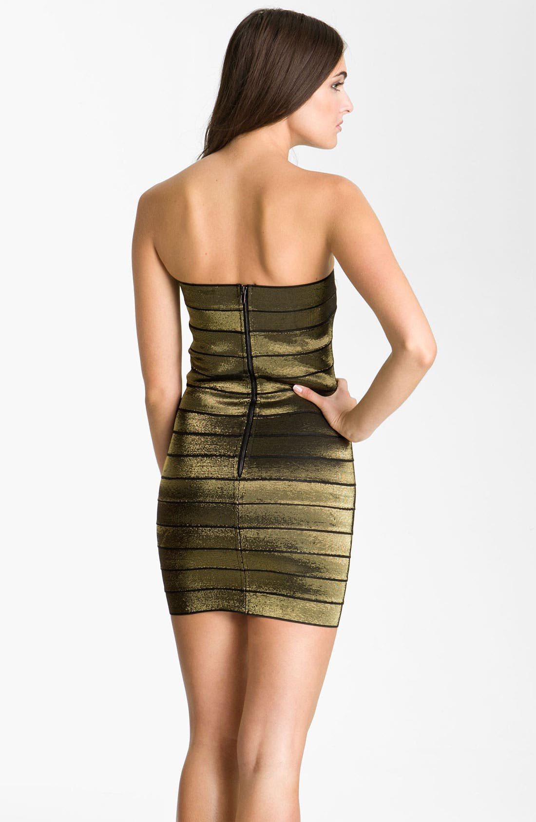 Alternate Image 2  - Allen Schwartz Prive Strapless Metallic Bandage Minidress