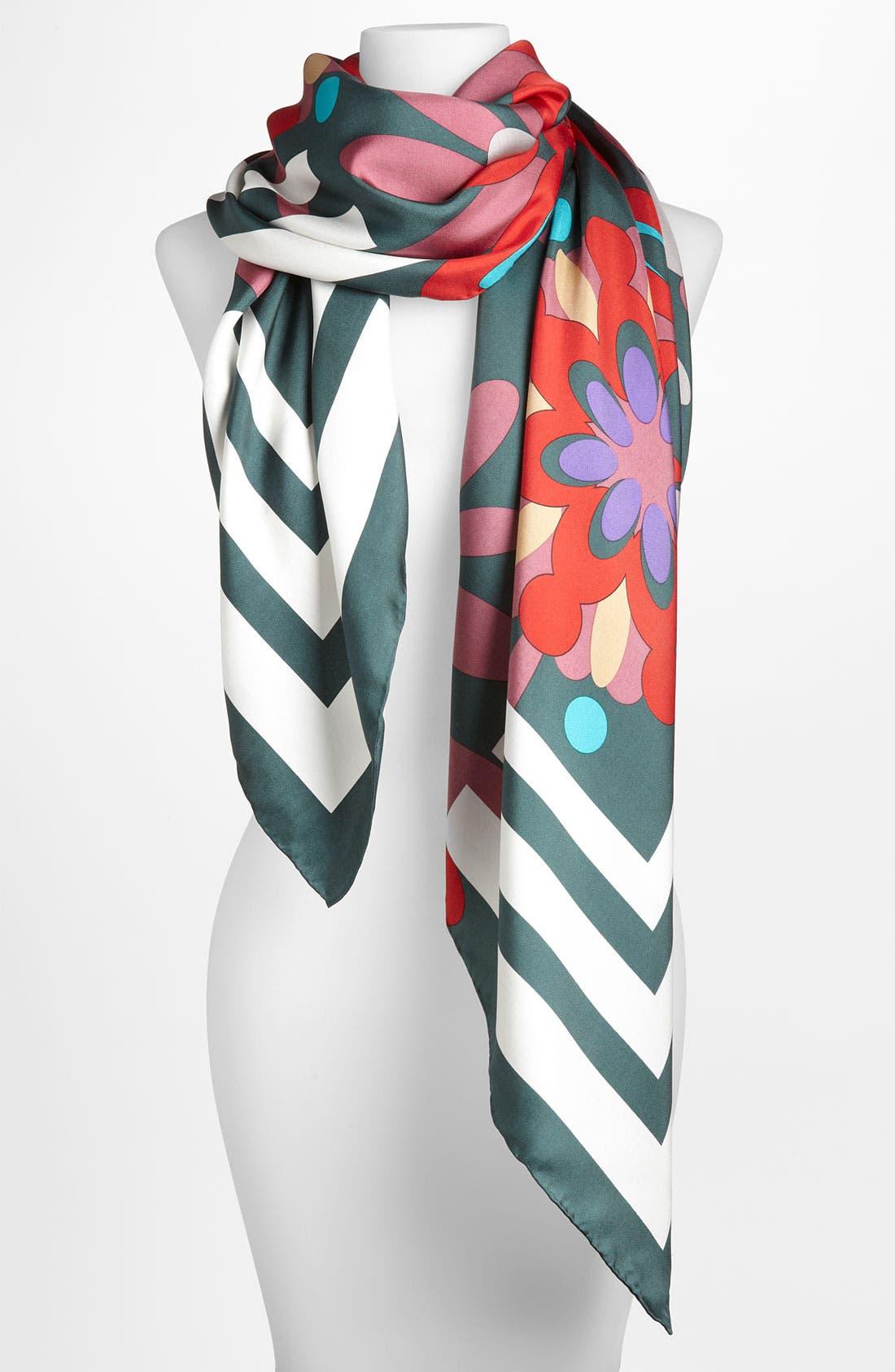 Main Image - Yarnz 'Floral Mosaic' Silk Scarf