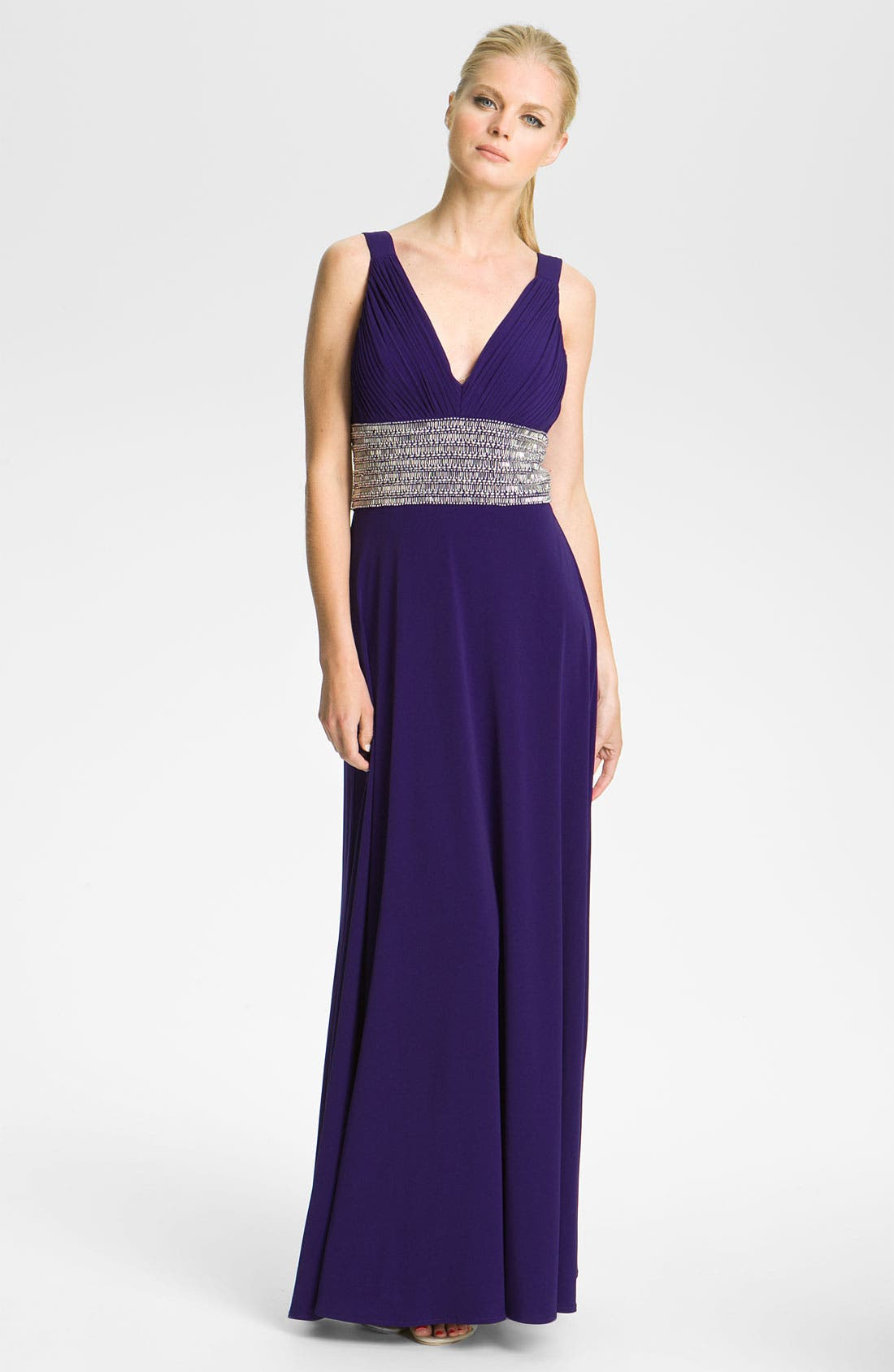 Main Image - JS Boutique Beaded Waist Jersey Gown