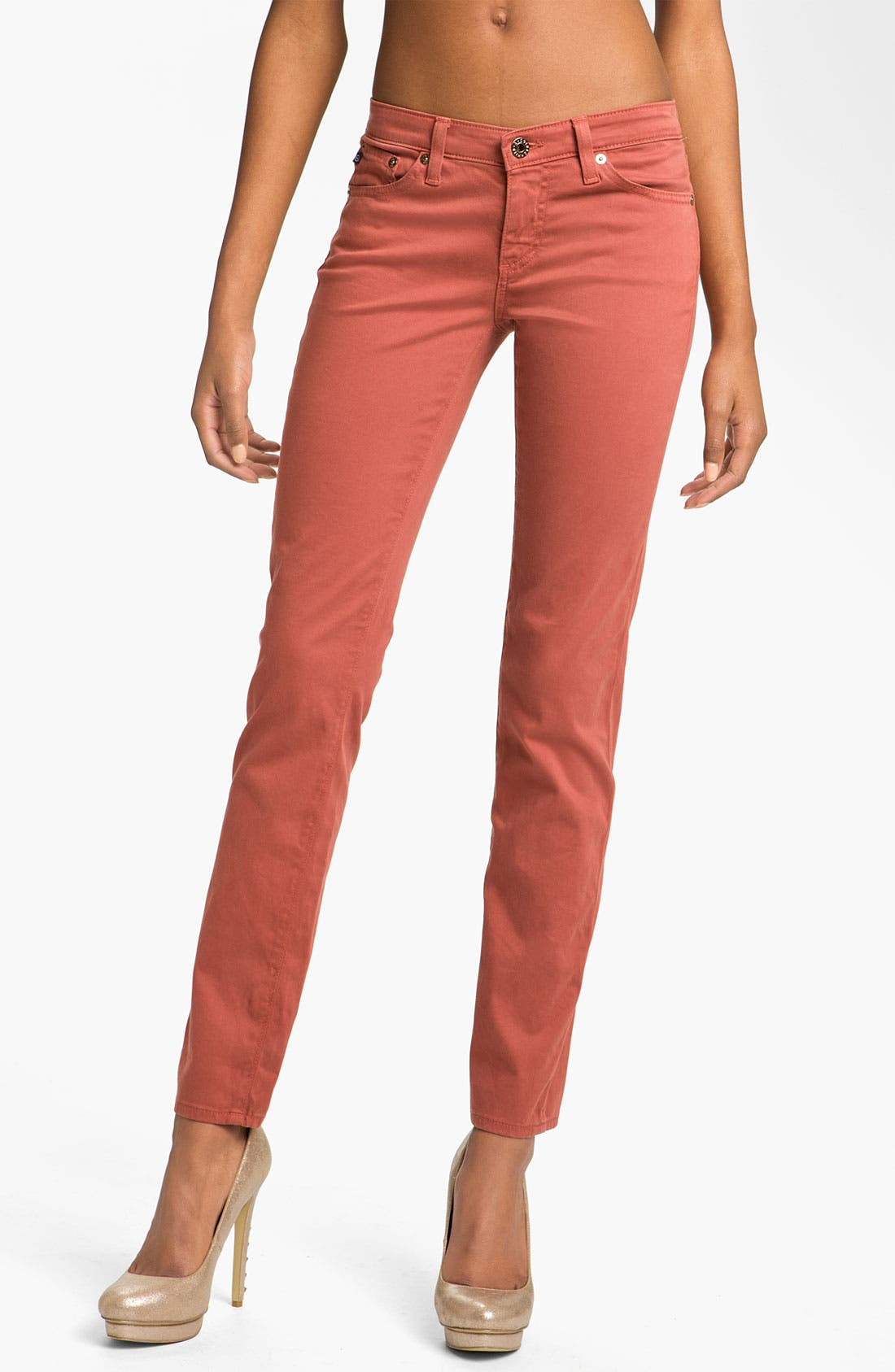 Main Image - AG 'Stilt' Skinny Ankle Jeans (Red Rock Sateen)