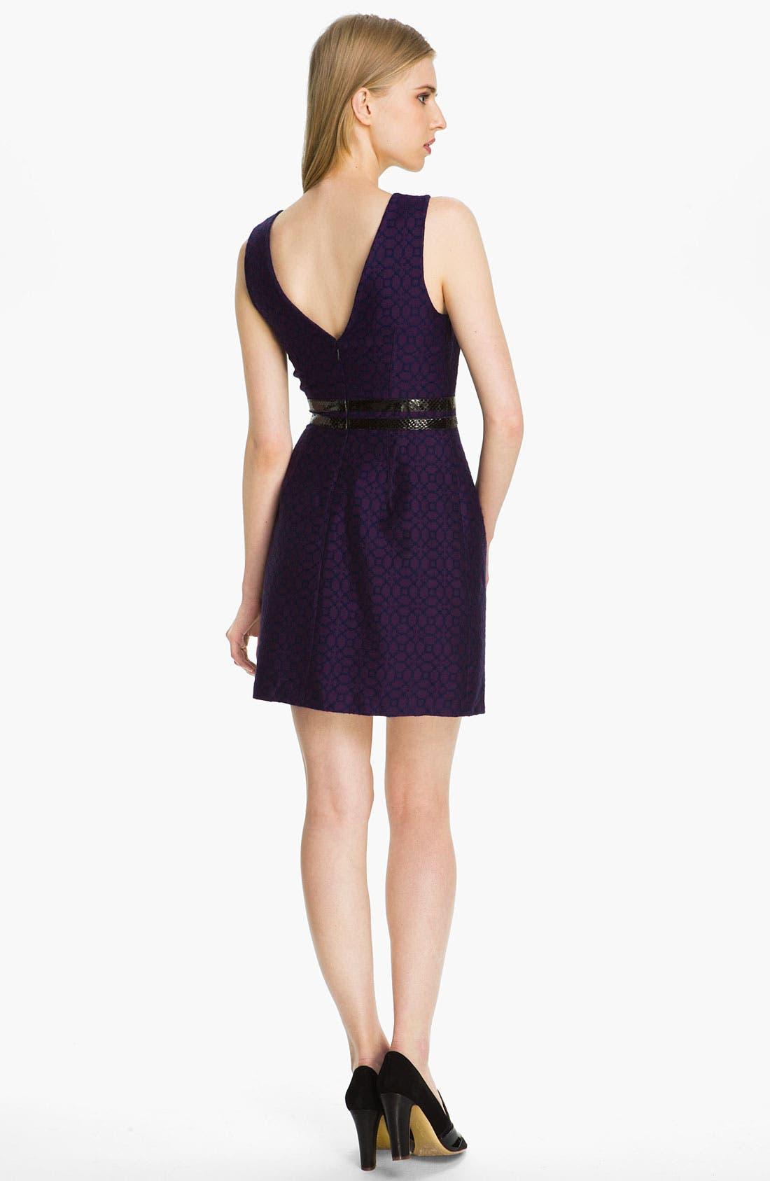Alternate Image 2  - Tracy Reese Leather Appliqué Bicolor Jacquard Dress