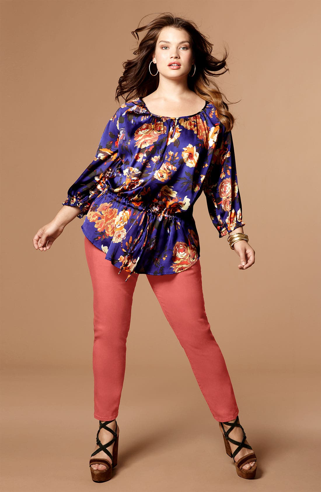 Alternate Image 4  - Daniel Rainn Tie Waist Chiffon Blouse & Tank (Plus)