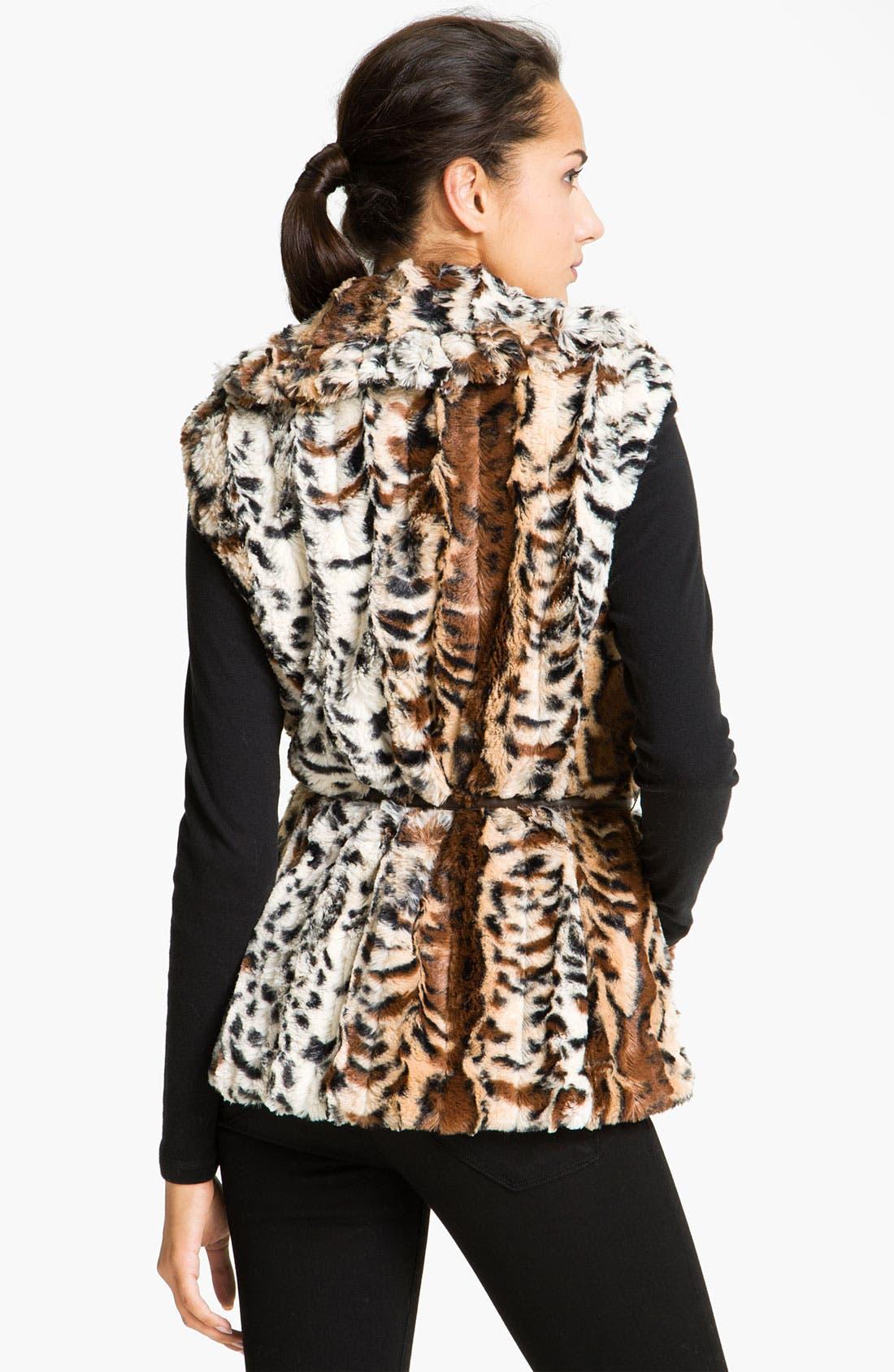 Alternate Image 2  - Damselle Faux Fur Ruffle Vest (Online Exclusive)