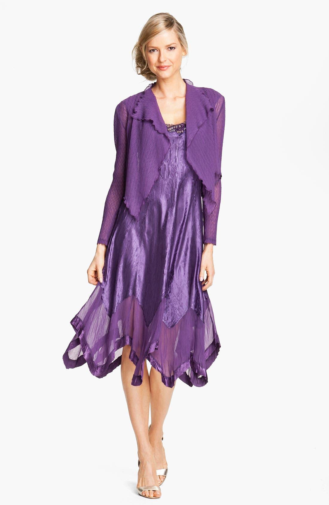 Main Image - Komarov Handkerchief Hem Charmeuse Dress & Chiffon Jacket (Regular & Petite)