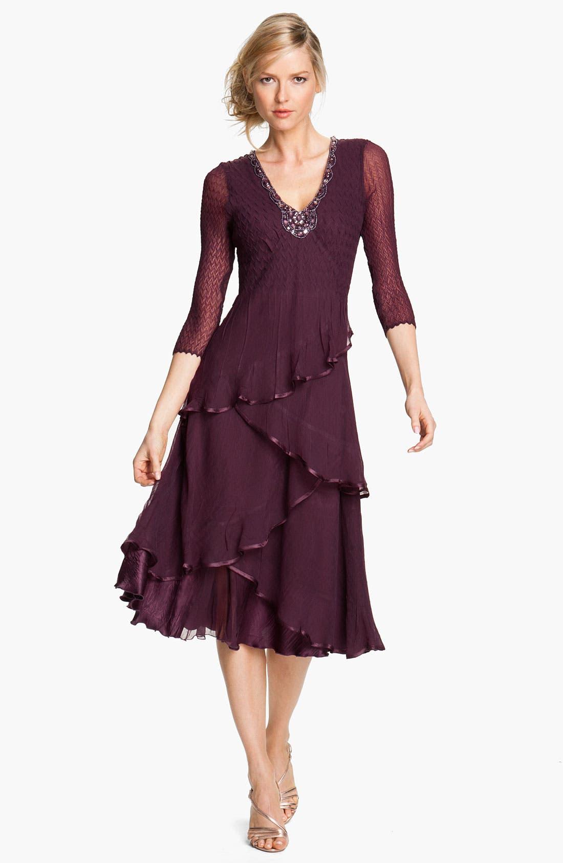 Alternate Image 1 Selected - Komarov Embellished Tiered Chiffon Dress