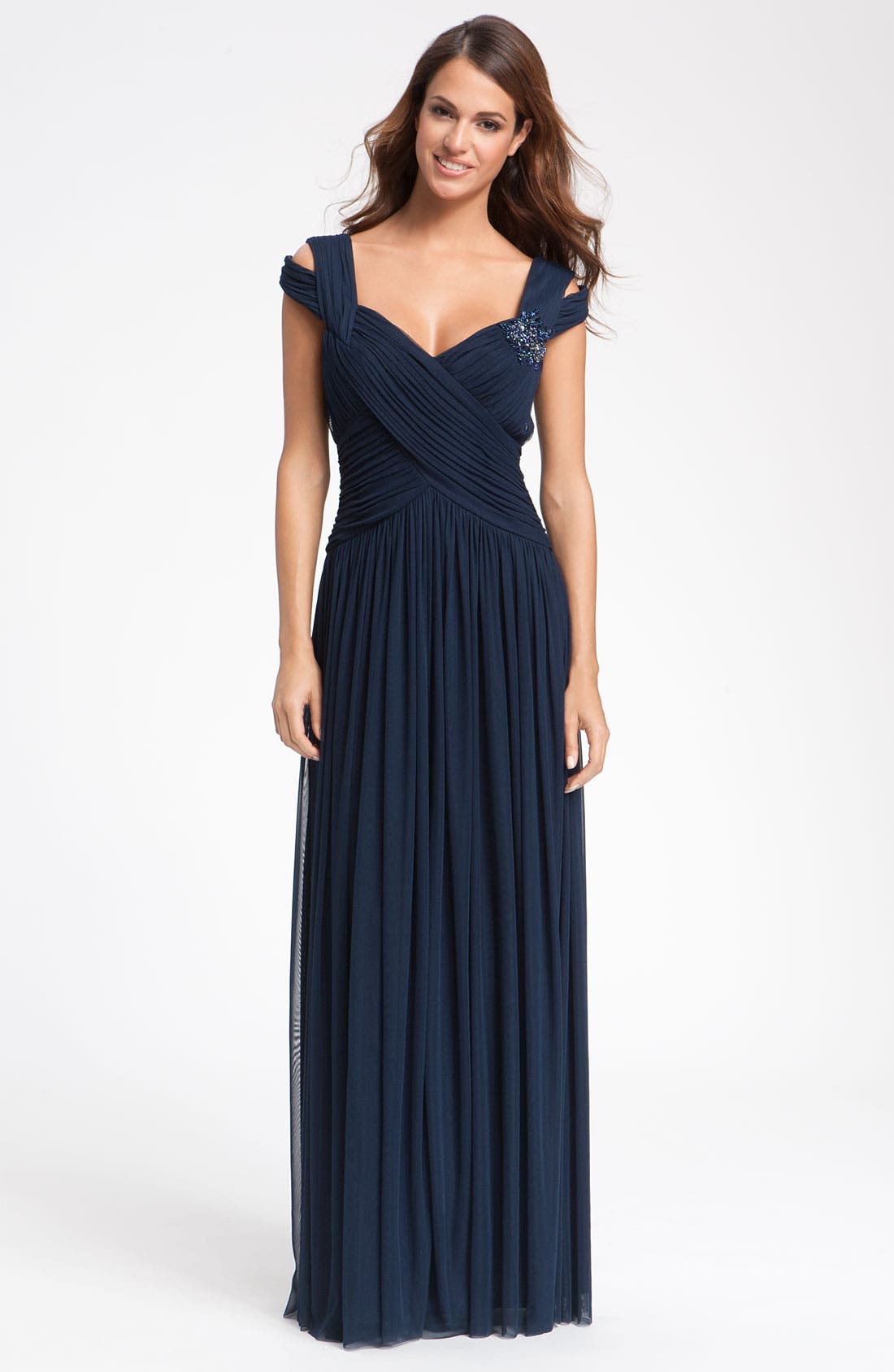 Main Image - JS Collections Beaded Mesh Gown (Petite)