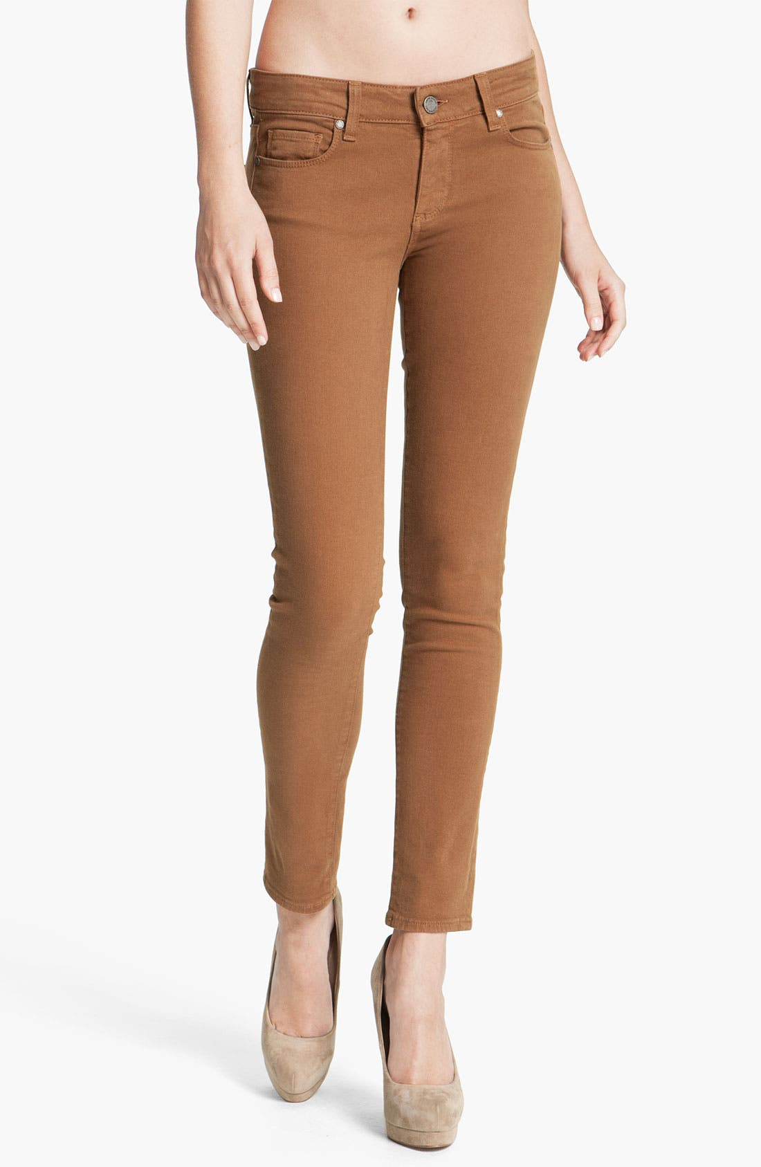 Alternate Image 1 Selected - Paige Denim 'Skyline' Skinny Jeans (Caramel)