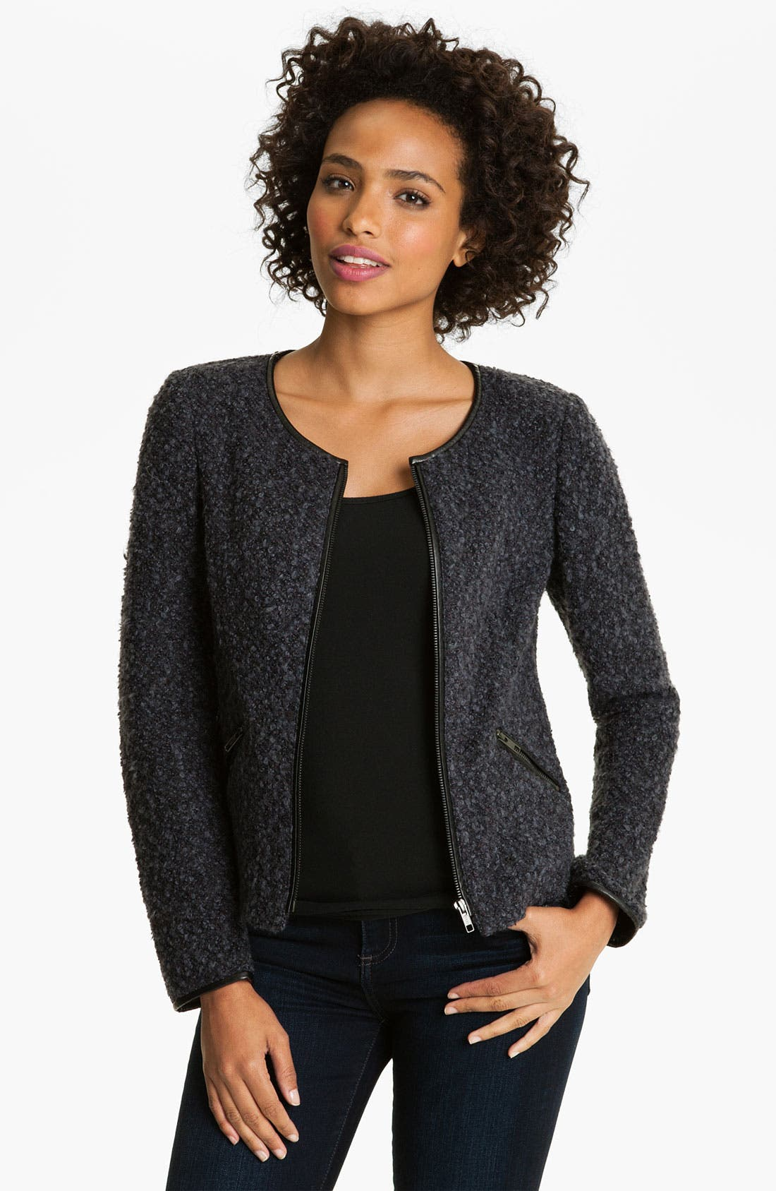 Alternate Image 1 Selected - Halogen® Zip Front Bouclé Jacket