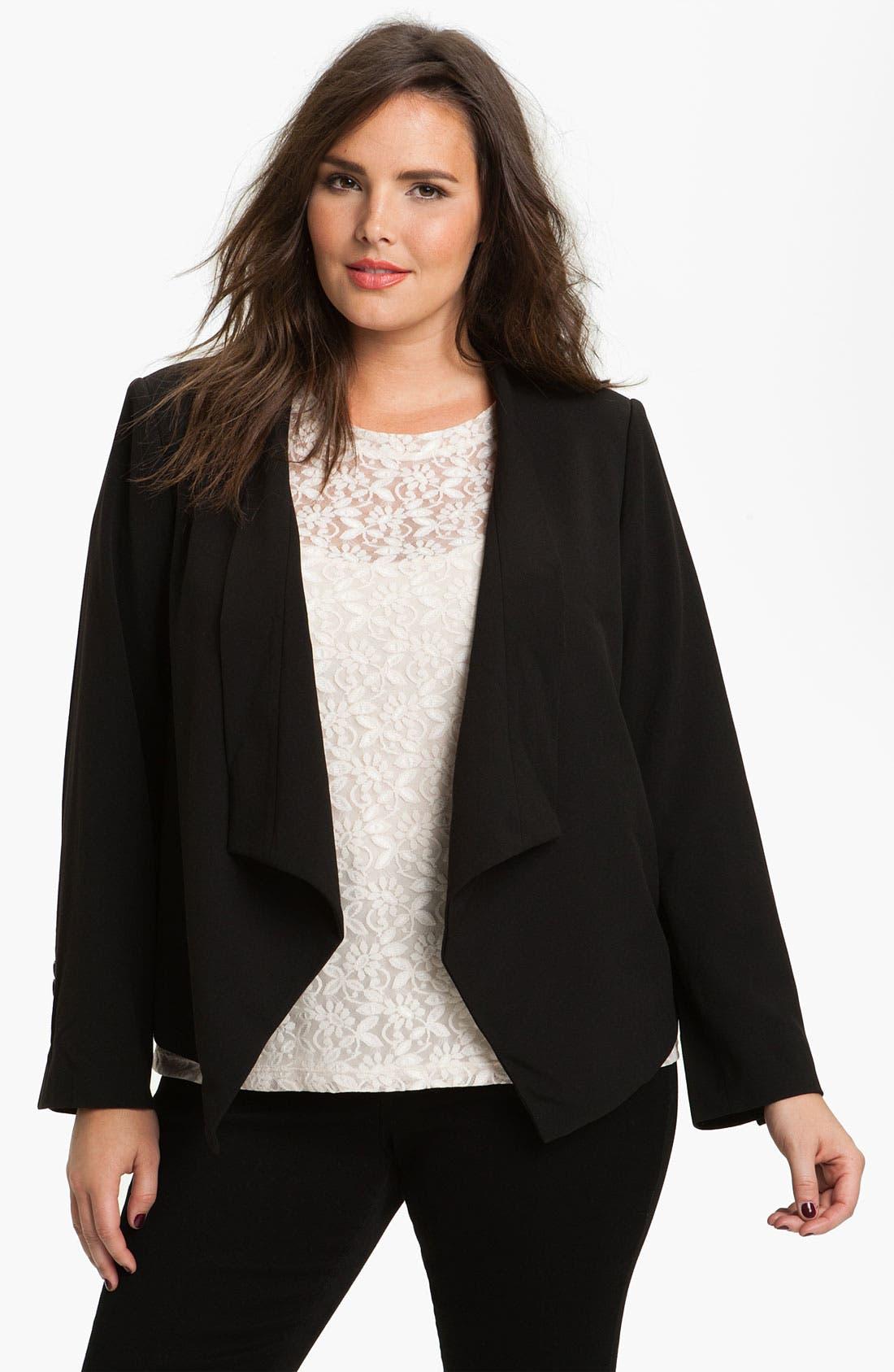 Main Image - Eliza J Open Front Jacket (Plus)