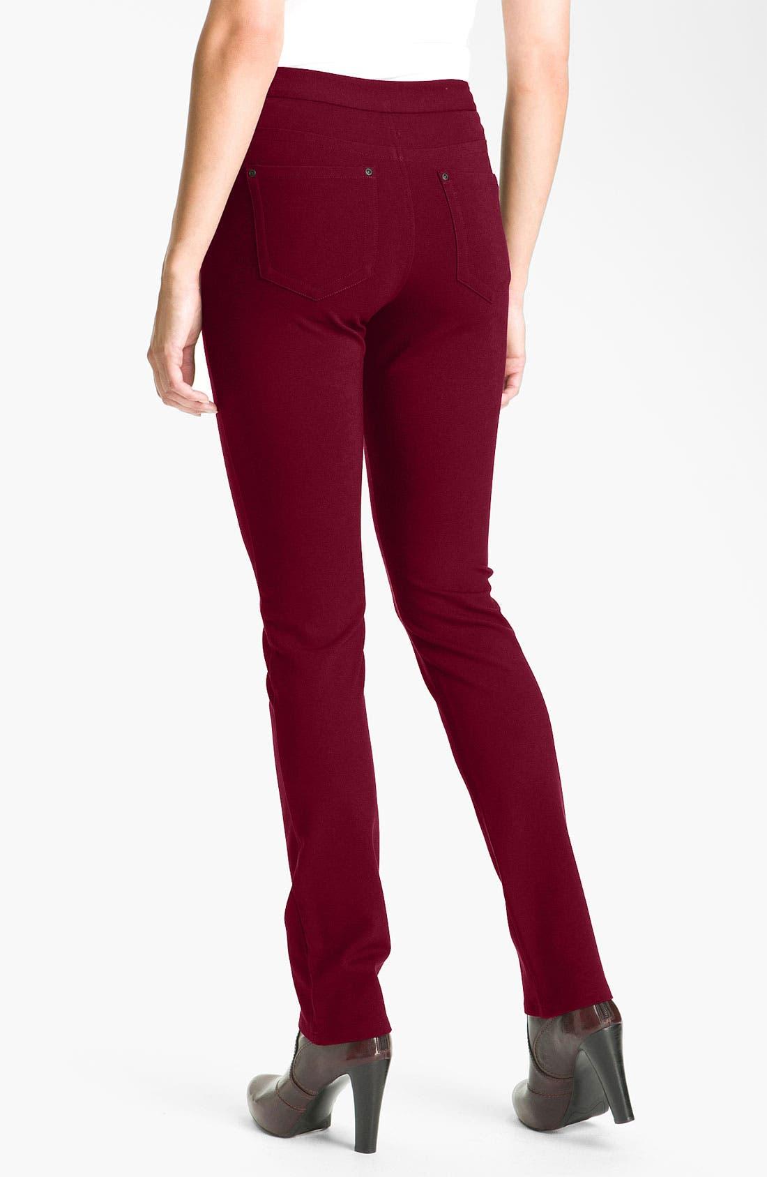 'Samantha' Stretch Ponte Knit Pants,                             Alternate thumbnail 2, color,                             Plumberry