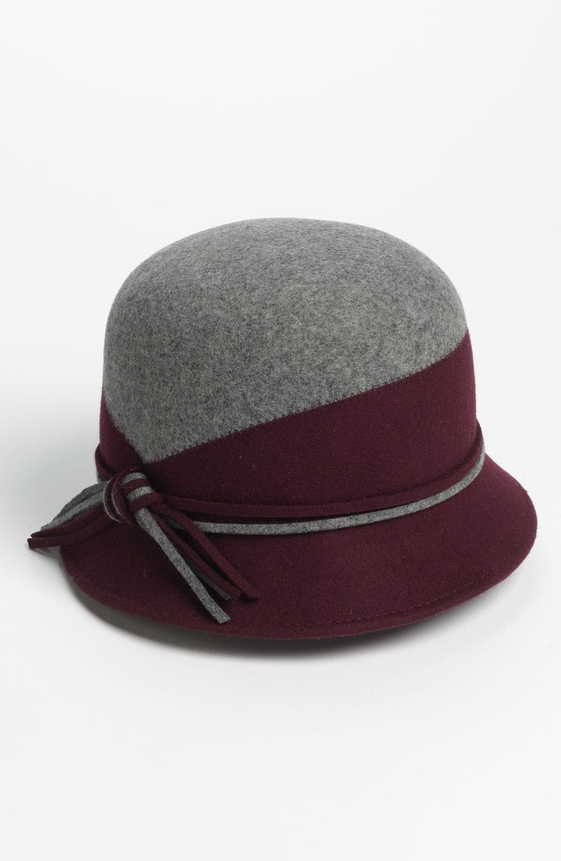 Two Tone Wool Cloche,                             Main thumbnail 1, color,                             Grey/ Wine