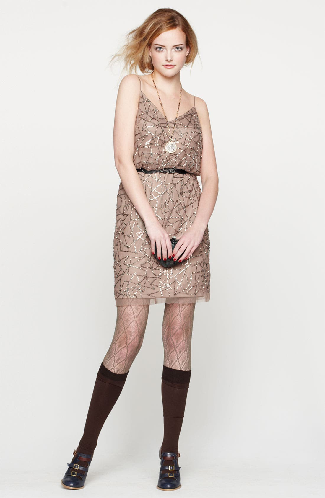 Alternate Image 4  - Adrianna Papell Spaghetti Strap Sequin Mesh Dress